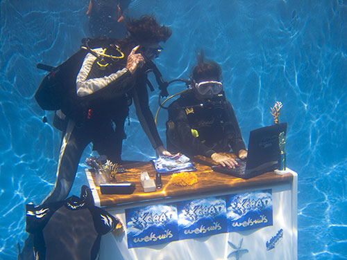 underwater office scuba