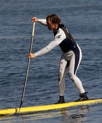 Mathew McConaughey in paddling action