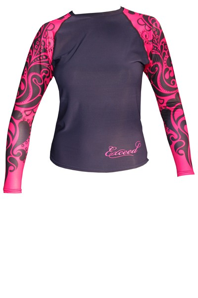 Exceed Ease Fuchsia Womens Long Sleeve Rash Guard
